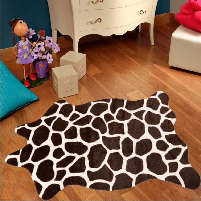 2 piece Giraffe Deer carpet Cowhide Rug Tiger leopard panda carpet wild Animal faux skin carpet Anti-Skid kids rug 1.1X0.75M