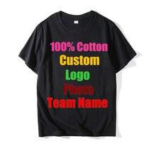 2018 Unisex Logo personalizado impreso personalizado hombres camisetas  personalizadas Color sólido texto foto impresión ropa publicidad 7fb7050408ef9