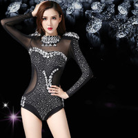 Nightclub singer sexy bar collar dance drilling body suit modern steel jazz dance costume DS costumes