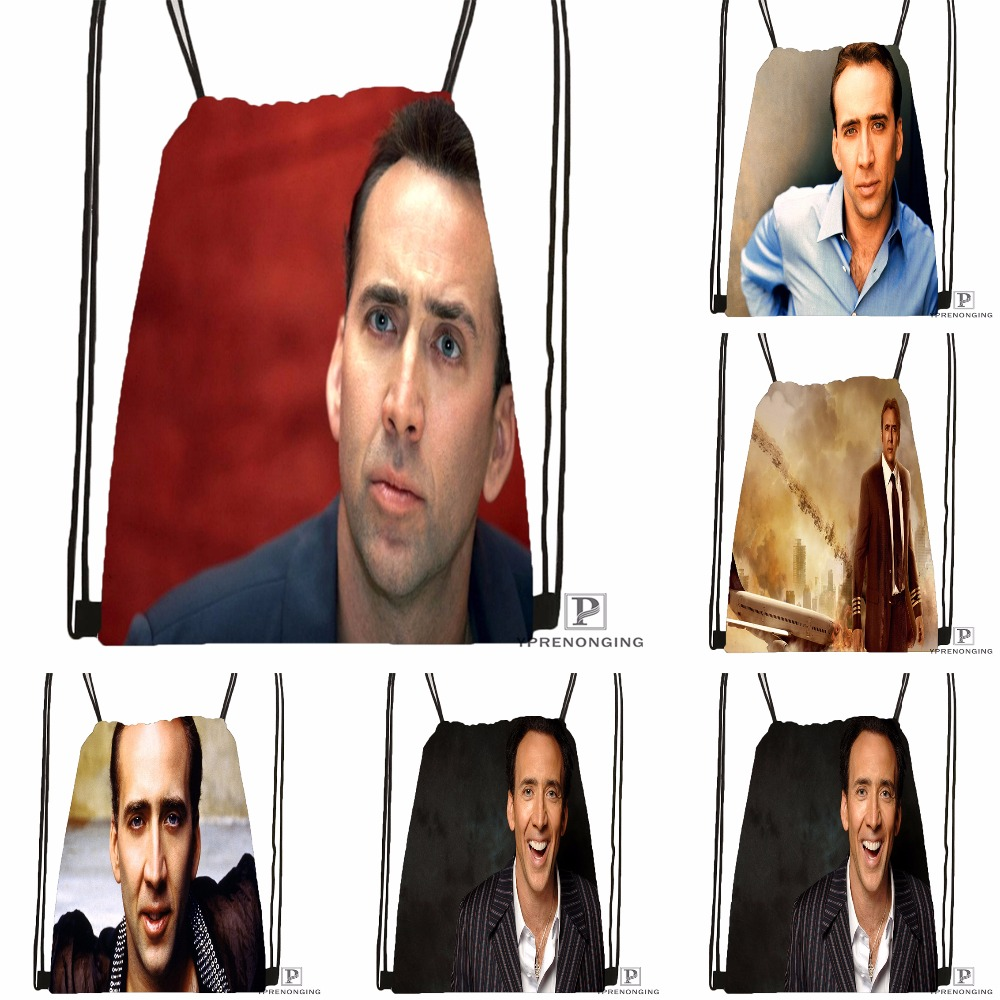 Custom Nicholas Cage Movies Drawstring Backpack Bag Cute Daypack Kids Satchel (Black Back) 31x40cm#180531-04-11
