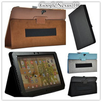 Flip Pu Leather Case Cover Stand For Google Nexus 10 Inch Tablet Case With Hand Holder