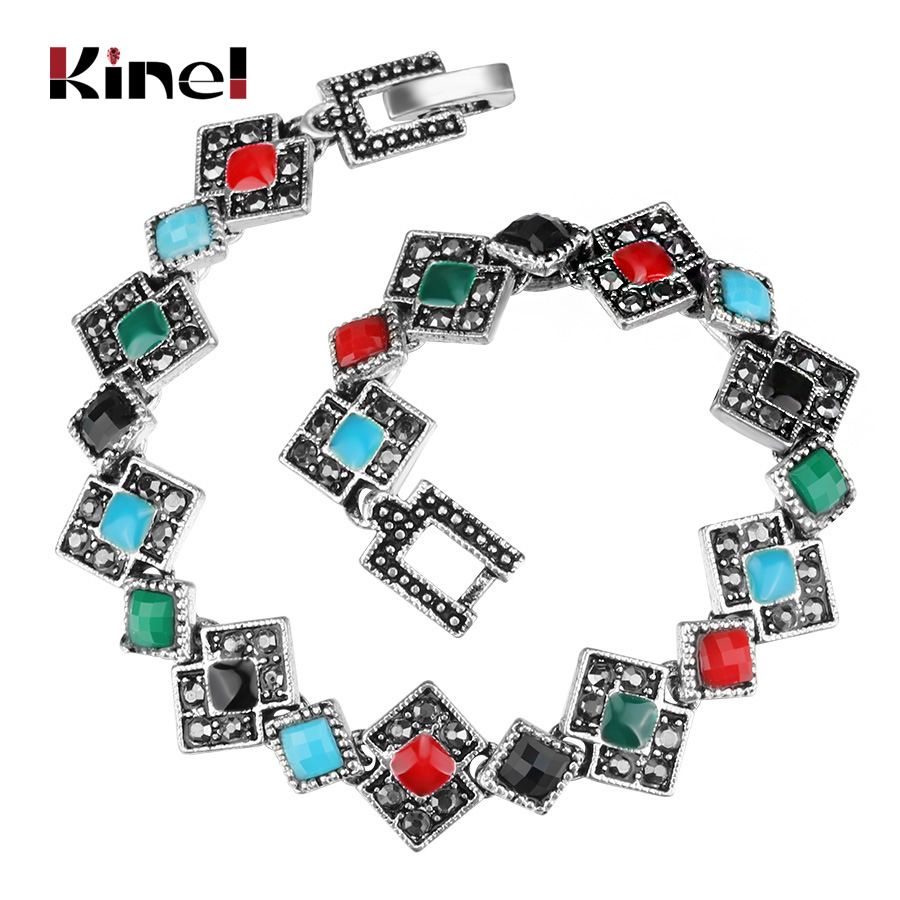 Kinel High-Quality Enamel Bracelets Unique Tibetan Silver Color Resin Crystal Bangles Beautiful Gift For Girls 2017 New