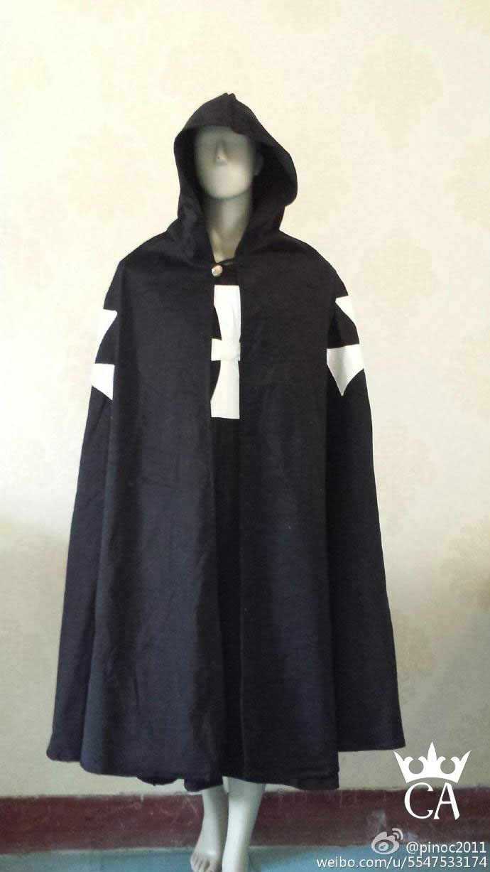 Medieval Knights Crusaders Hospitaller Tunic Clothing Cloak Cape Black Gothic Cross LARP Cosplay Costume F008