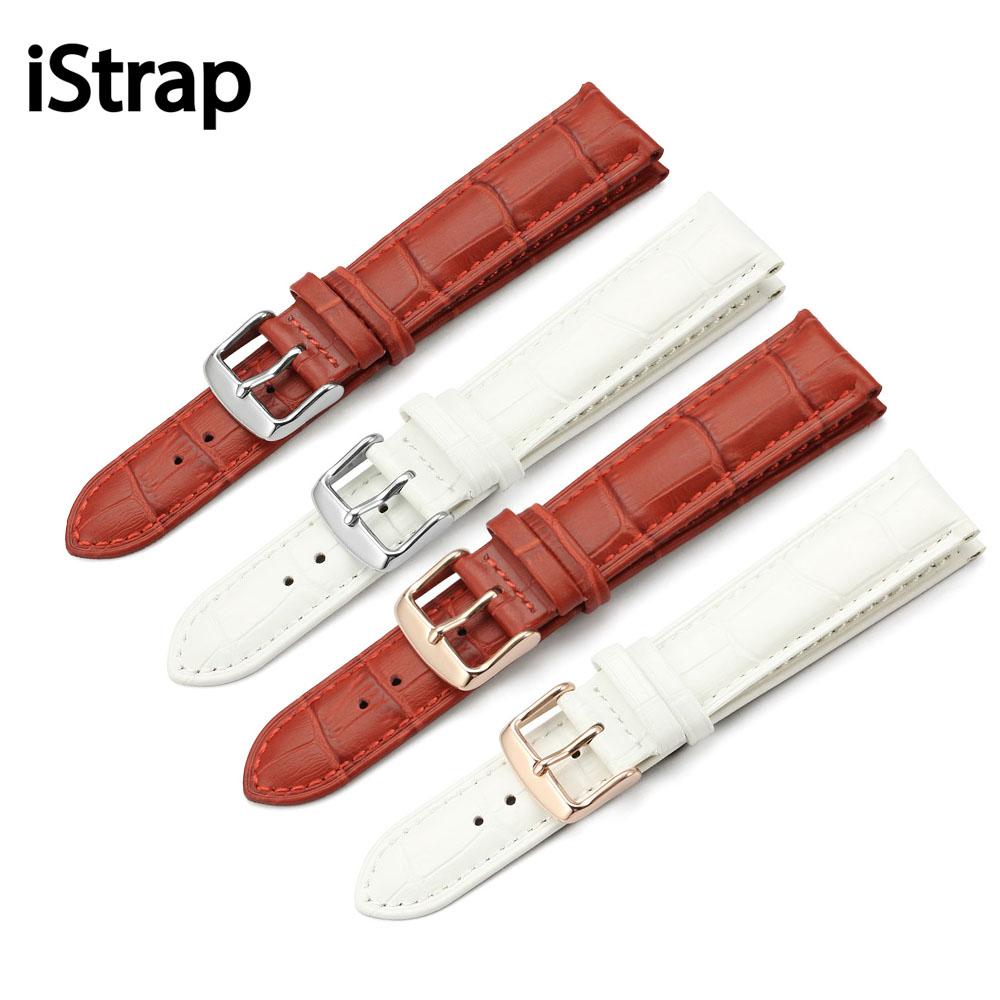 Prix pour Istrap 12mm 13mm 14mm 16mm 18mm 19mm 20mm femmes montre bande sangle Blanc Rouge Véritable Veau En Cuir Ladi Montre bracelet pour heures fille