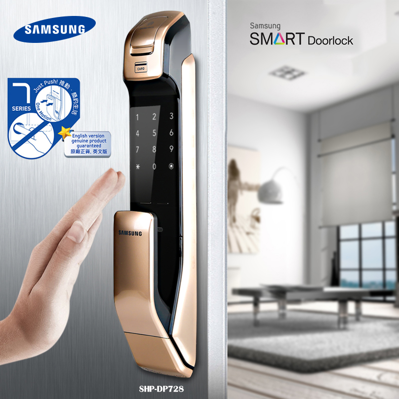 US $416 5 15% OFF|English Version Big Mortise SAMSUNG SHP DP728 Keyless  BlueTooth Fingerprint PUSH PULL Digital Door Lock Gold Color-in Electric  Lock