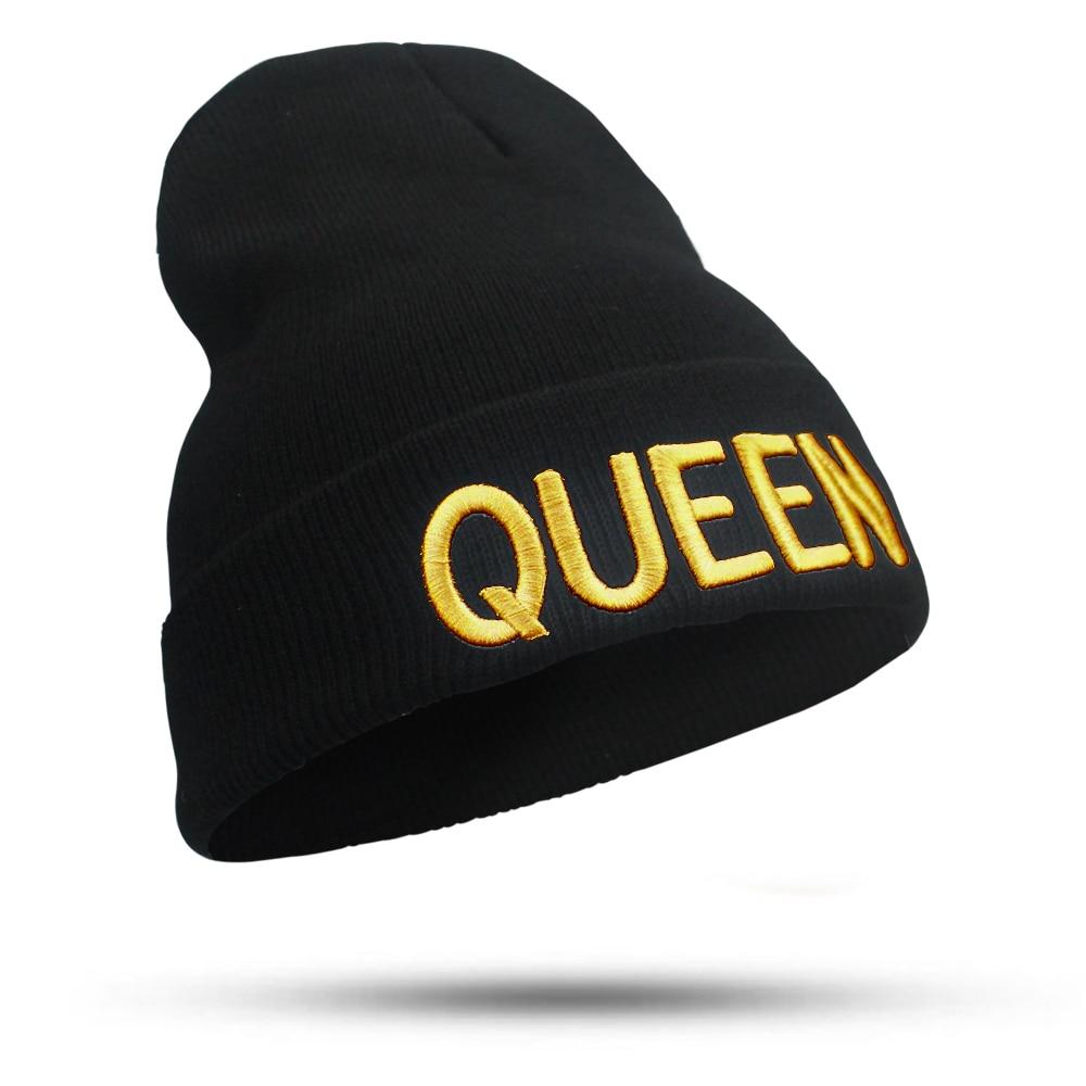 KING QUEEN Embroidery Beanies Cap Brand New Warm Winter Hat Knitted Cap Hip Hop Men Women Lovers Hats Female Bonnet Skullies