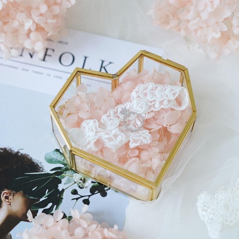 Flip Love Heart Shaped Geometric Glass Jewelry Box Glass Ring Box Exquisite Unique Wedding Jewelry Box Ring For Wedding Decora