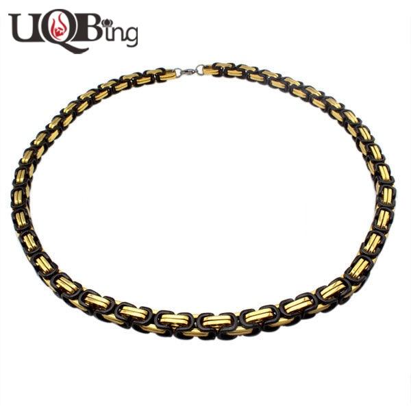 a281973a9ac9 Ancho de 8 MM de Acero Inoxidable de Oro Negro Grande Gruesos Collares de  Cadena Para