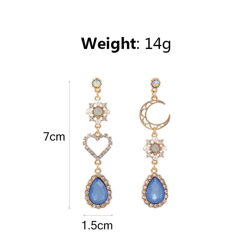 2019 New Sweet Asymmetry Shiny Rhinestone Love Heart Moon Drop Earrings for Women Long Blue Crystal Tassel Dangle Jewelry 6A2032