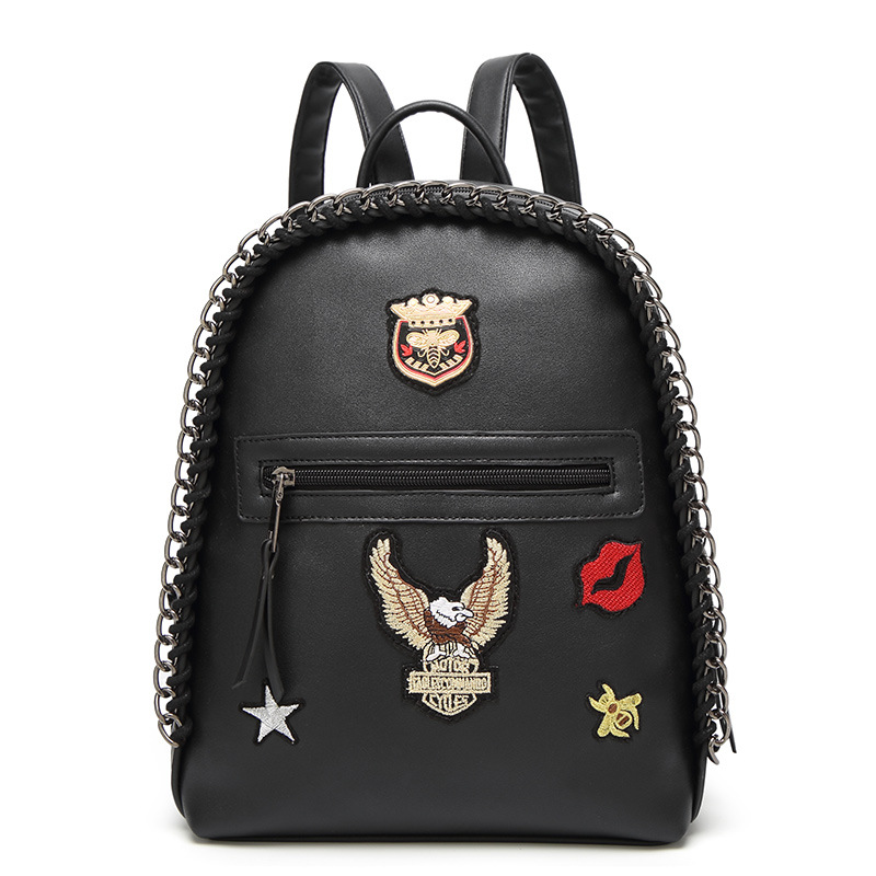 Punk Fashion Women Backpack Vintage Badge Embroidery Chain Kniting Small Backpack For Teenage Girls Travel Backpack