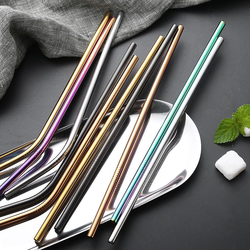 10Pcs lot Reusable Drinking Straw Colorful 304 Stainless Steel Metal Straw with Cleaner Straw Brush Party Bar Exqusite Accessory in Water Bottle Cup Accessories from Home Garden