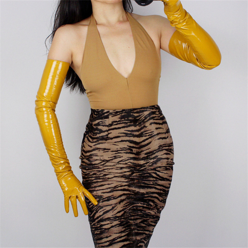 Woman Gloves Bright Leather Patent PU Female Dance Party Simulation Ginger Yellow P1370-15