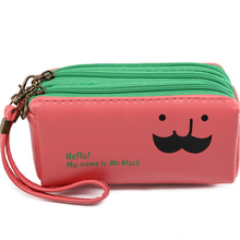 Mr. Black well-known model casual PU leather-based three clutch coin purse phone bundle women mini baggage 13.5*7.5*5.5cm