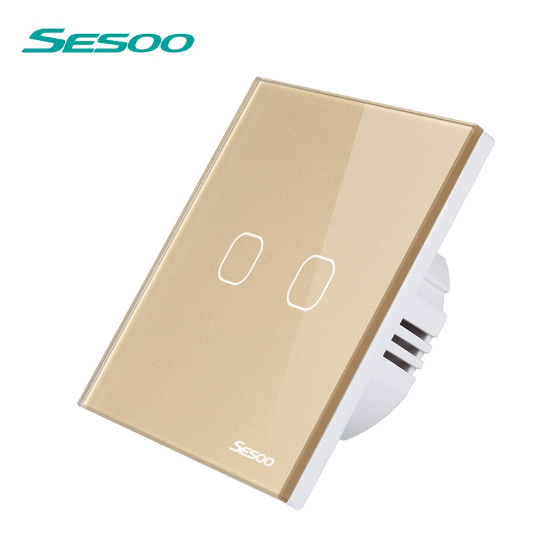 SESOO Touch Switches 2 Gang 1 Way Waterproof Crystal Glass Panel Light Touch Switch Cant Remote Control Wall Touch Switch EU
