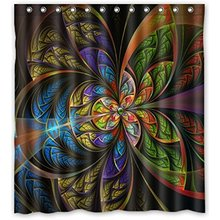 Trippy Psychedelic Shower Curtain 66Wx72H Inch With 12
