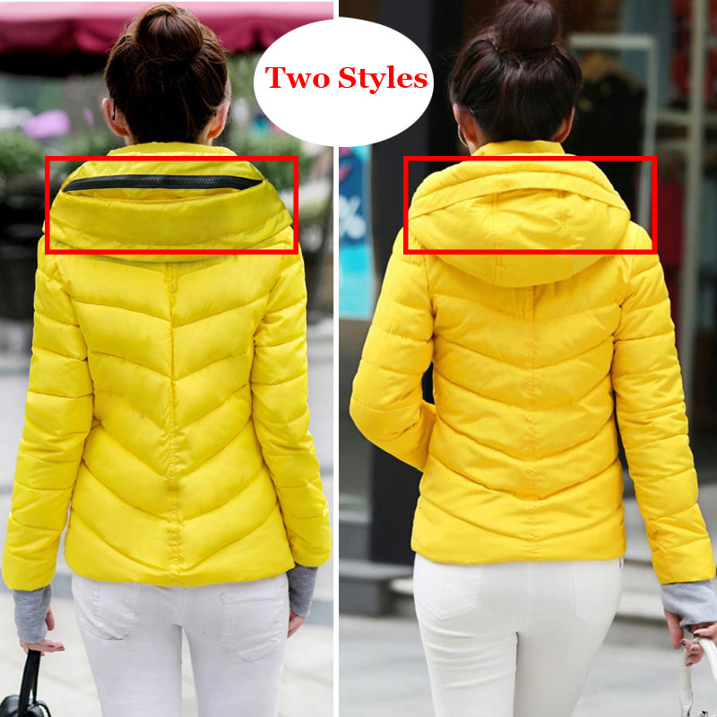 2018 Winter Jacket women Plus Size Womens Parkas Thicken Outerwear solid hooded Coats Short Female Slim Cotton padded basic tops 4