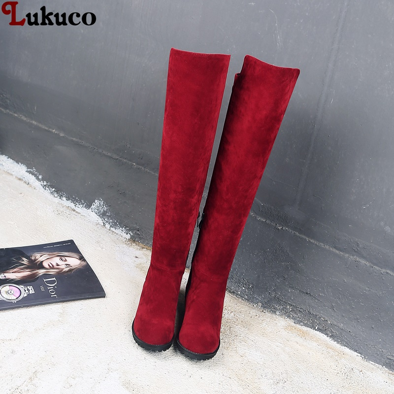 купить Hot Sale Thigh High Boots Female Winter Boots Women Over the Knee Boots Size 42 43 44 45 46 Sexy Fashion Shoes 2018 riding boots по цене 3331.88 рублей