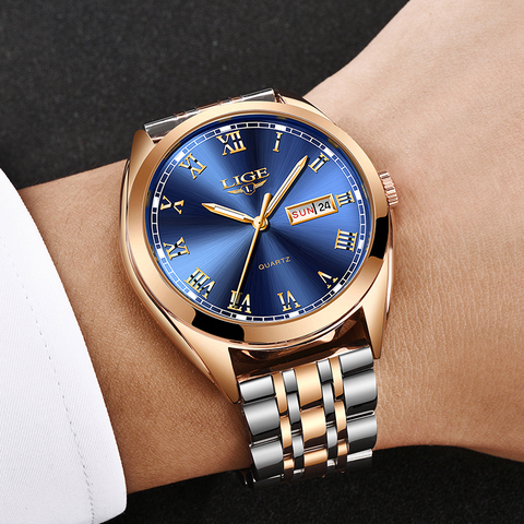 LIGE Watches Men Waterproof Stainless Steel Luxury Analogue Wrist Watches Week Display Date Sports Quartz Watch Men Montre Homme Karachi