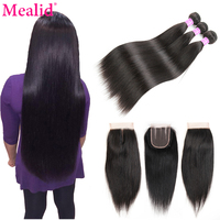 Mealid Brazilian Straight Hair Bundles With Closure 1b Non Remy Brazilian Hair Weave Bundles Human Hair