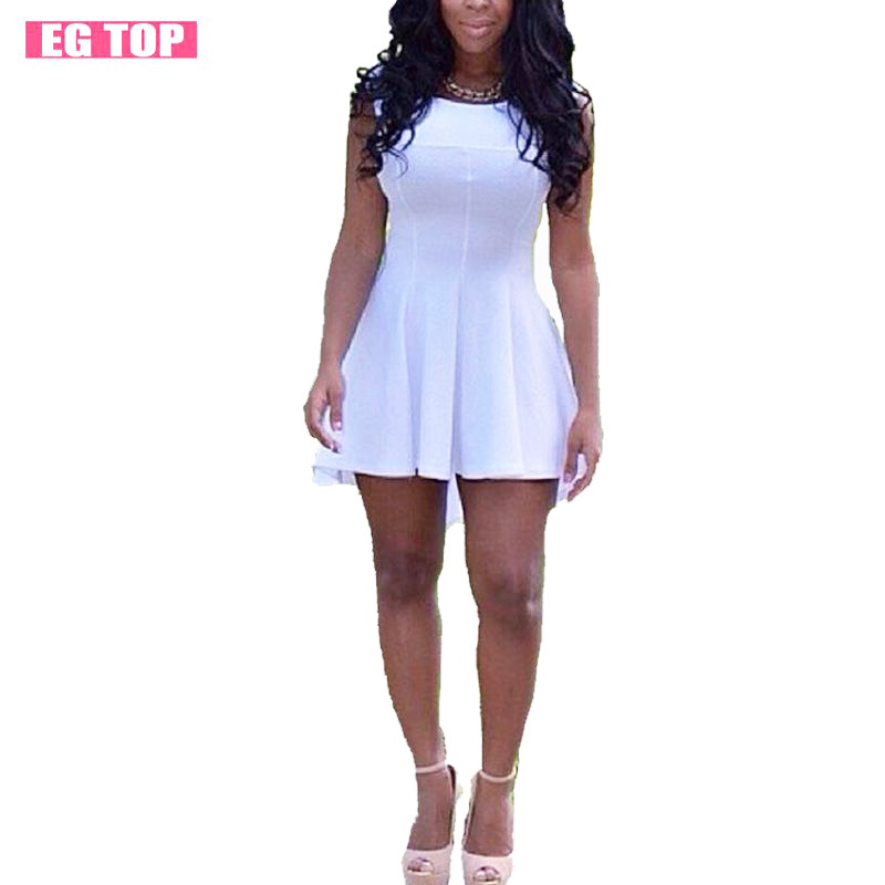 2015 Fashion All White Dress Sexy Club Party Dress Sleeveless Vintage Summer Women Dress Mini ...