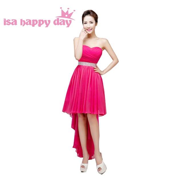 Hot Pink Mariage Fushia Day Gown Women Short Front Long Back Plus