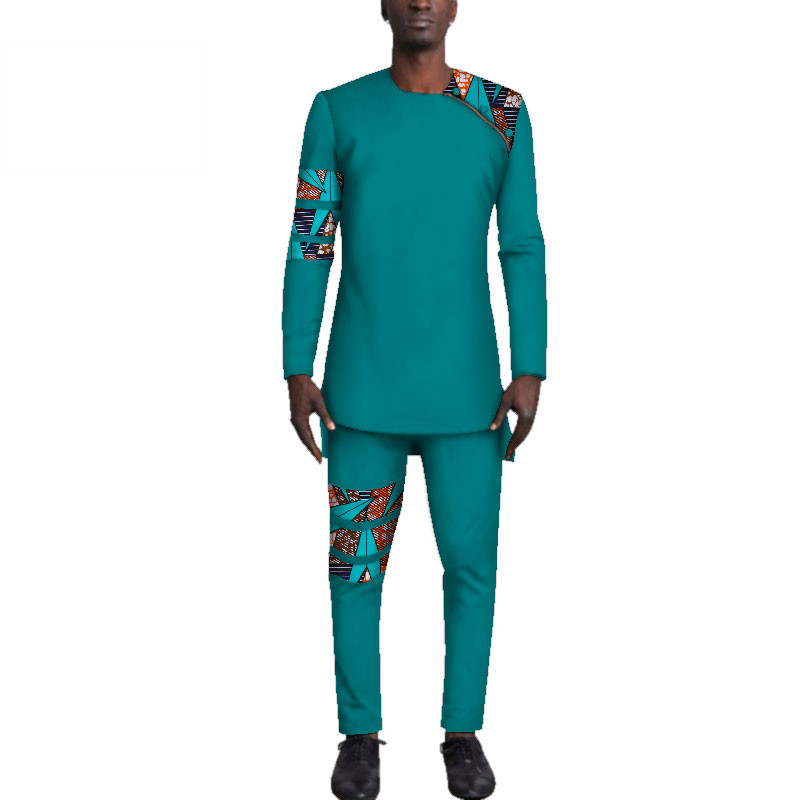 Casual-Mens-African-Clothing-Bazin-Riche-Patchwork-Top-Shirt-and-Pants-for-Men-Custom-100-Cotton(3)
