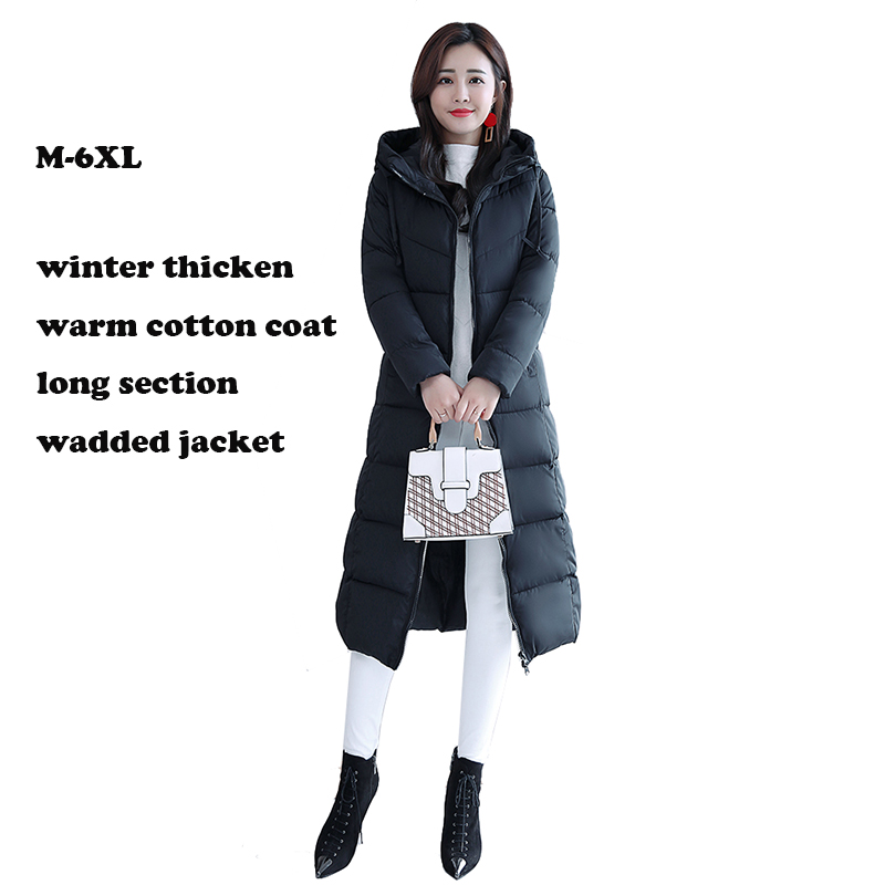 Coton veste Plus La taille 4XL 5XL 6XL femme vestes d'hiver à capuchon en coton rembourré femmes manteau hiver long parka chaud épaissir outwear