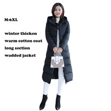 Cotton jacket Plus size 4XL 5XL 6XL woman winter jackets hooded cotton padded women coat winter long parka warm thicken outwear(China)