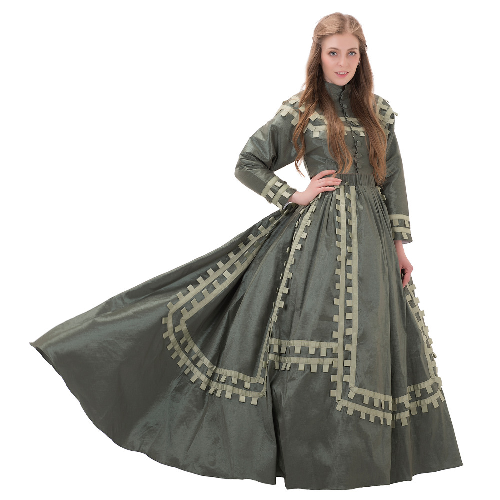 Antique Civil War Era Day Dress Victorian Day Dress 1860s Victorian Dress Gown Adult Medieval Renaissance Dress Costume Cosplay(China)