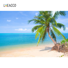 Laeacco Tropical Palm Tree Sea Beach Summer Holiday Sky Baby Scenic Photo Background Photography Backdrop Photocall Studio