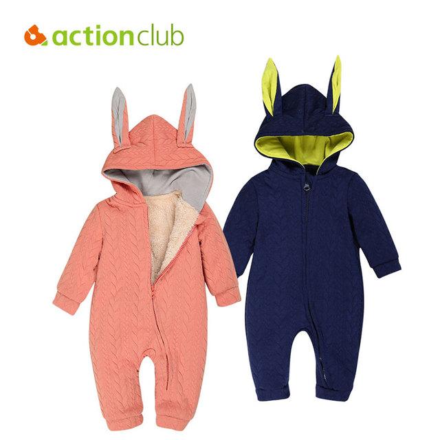 Macacão de Inverno do bebê Meninos Recém-nascidos Meninas Quente Macacão Infantil Engrossar Sólida de Mangas Compridas Roupas de Algodão Bonito Com Capuz Outerwear