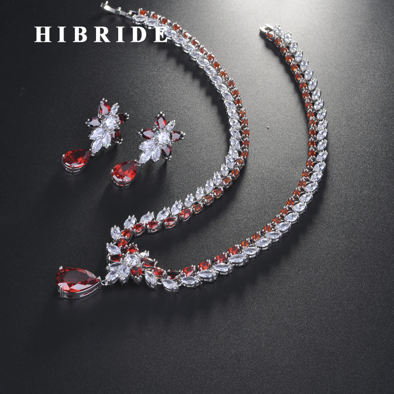 esconde elegante design de flor vermelho zirconio cubico conjuntos de joias para mulheres acessorios de casamento