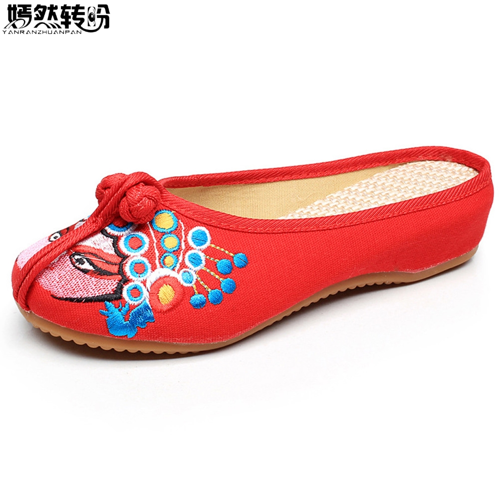 Women Slippers Old Beijing Opera Mask Embroidery Cotton Cloth Shoes Ladies Vintage Sandals Zapatos Mujer Sandials Plus Size 43 vintage women flats old beijing mary jane casual flower embroidered cloth soft canvas dance ballet shoes woman zapatos de mujer