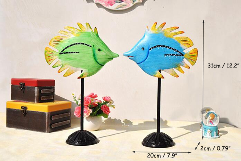 Bois coloré Home Decoracion accessoires bureau 2 pièces poissons ornements artisanat Unique en bois poissons Enfeites Para Casa Decoracao - 5
