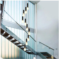 L Nordic Stairs Chandeliers Long Chandeliers Duplex Stairs Rotating European Style Simple Industrial Wind Retro Hanging Lights