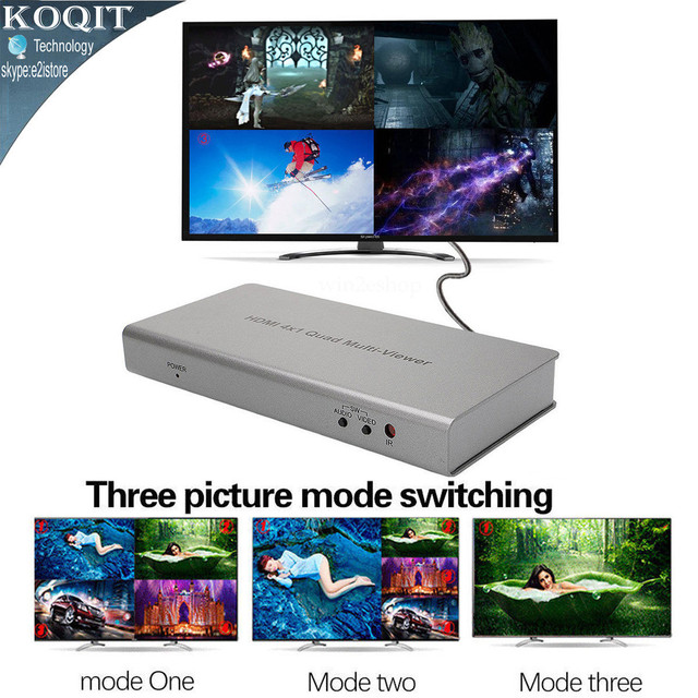 US $62 09 31% OFF|4X1 HDMI Switch Multi viewer HDMI Quad Screen splitter  Real Time Multiviewer Game HDMI seamless switcher function full 1080P 3D-in