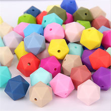 10 pcs/pack 15mm Hexagon Silicone Beads Teething Baby Teether Baby DIY Toy Baby Shower Gift Necklace(China)