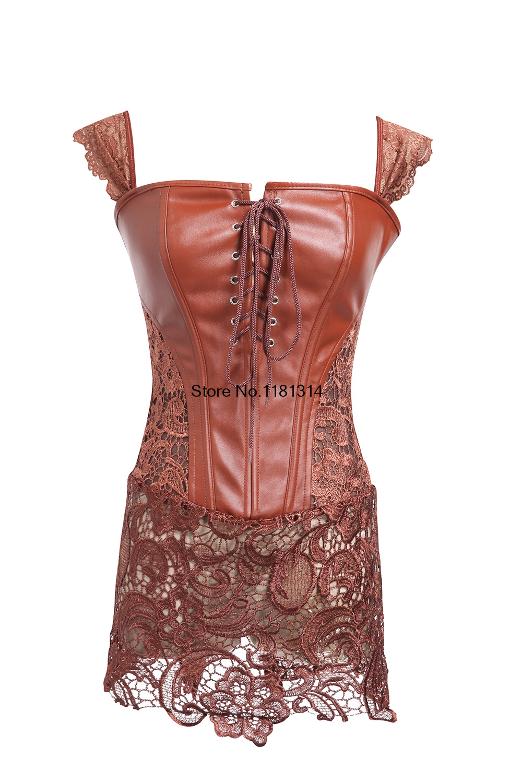 Dropship   Corset   Steampunk Waist Best Lace Lady Leather Gothic Sexy Corselet   Bustier     Corset   2017 Women plus size S-6XL
