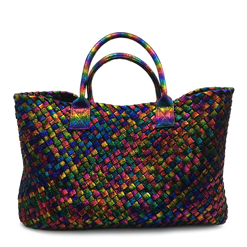 New Arrival Fashion Rainbow Weave Handbags Women Large Totes Big Shopping Bag Top Quality Faux Leather