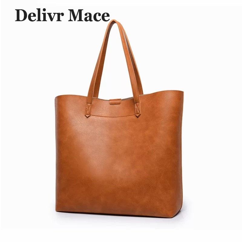 Women Handbags 2018 Luxury Designer Vintage Brown PU Leather Large Ladies Hand Bags Shoulder Bag Set Big Tote Bag Handbag Tassen цена