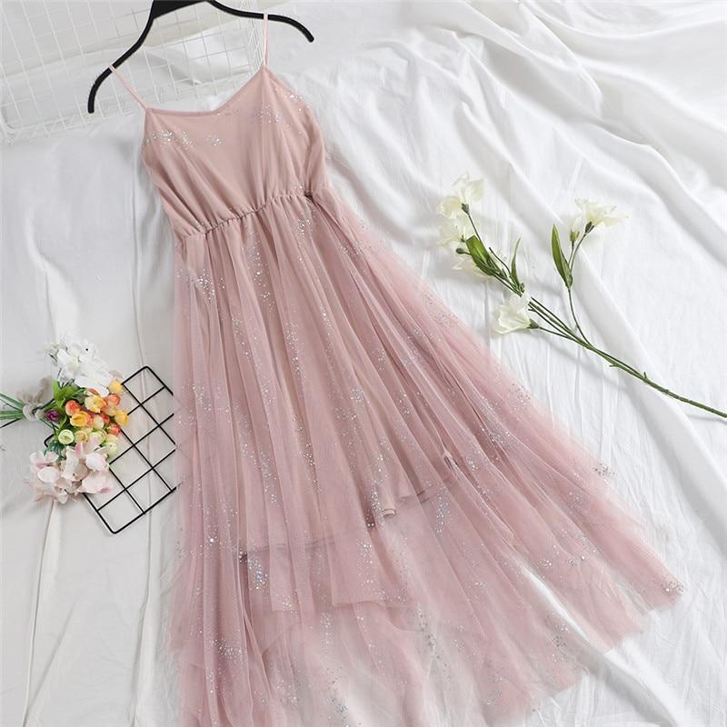 Hiawatha V-Neck Sequined Backless Sexy Dress Women Elegant Mesh Strap Dresses Summer Party Sleeveless Vestidos L9209 3