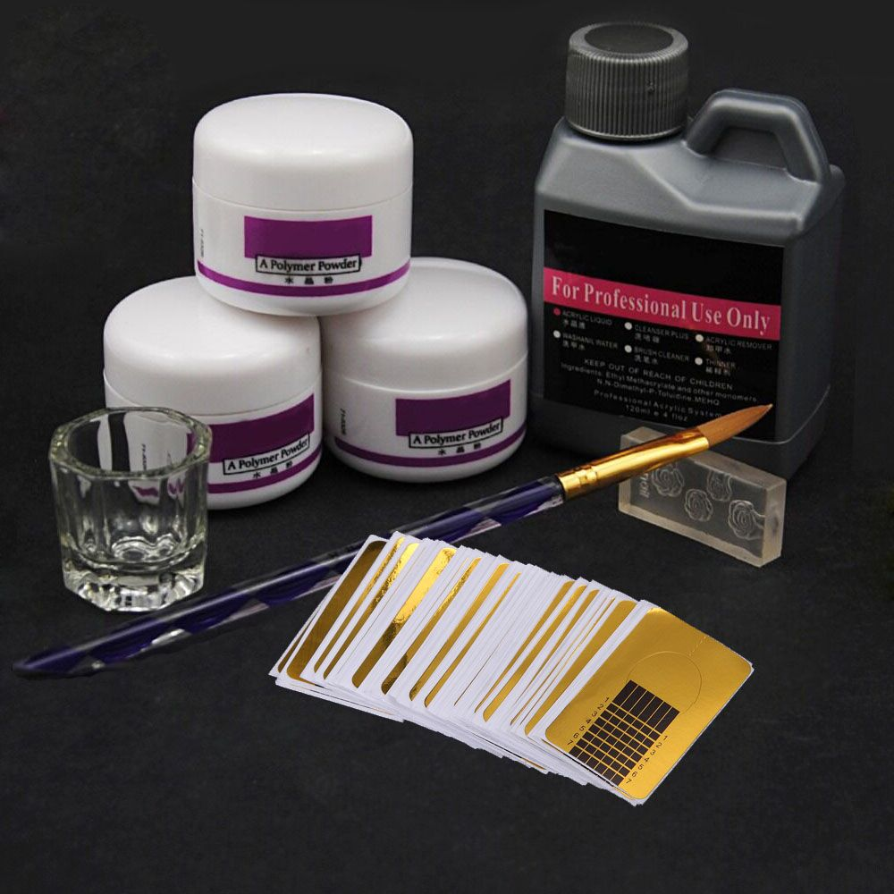 8Pcs Set Acrylic Powder Acrylic Nail Kit Crystal Nail Polymer Acrylic For Nails Set For Manicure Need UV Lamp Nail Art Brush in Acrylic Powders Liquids from Beauty Health