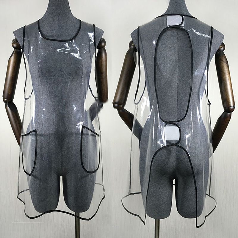 Transparent PVC Salon Cape Fashion Stylist Work Clothes Barber Hair Cutting Bib Gown Apron For The Hairdresser With Pocket UN841