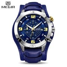 цена 2019 MEGIR New Mens Watches Leather Bracer Big Dial Chronograph Man Military Quartz Watch Men Waterproof Date Sport Wristwatches онлайн в 2017 году