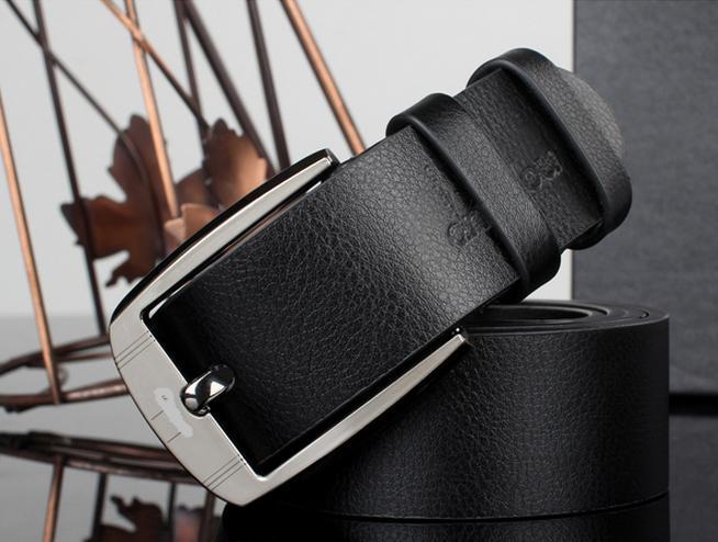 Кожаный ремень корейских студентов хит сезона Повседневная ремень моды случайные мужской кожаный ремень широкий пояс 122911 - Цвет: Черный