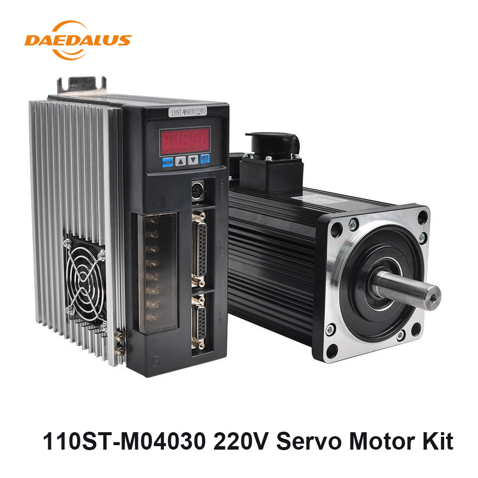 110ST M04030 AC Servo Motor Kit 220V 1.2KW Servo Motor 4N.M 30A Drive 3 Meter Motor Encoder Cable 25 Pin Centronics Connector