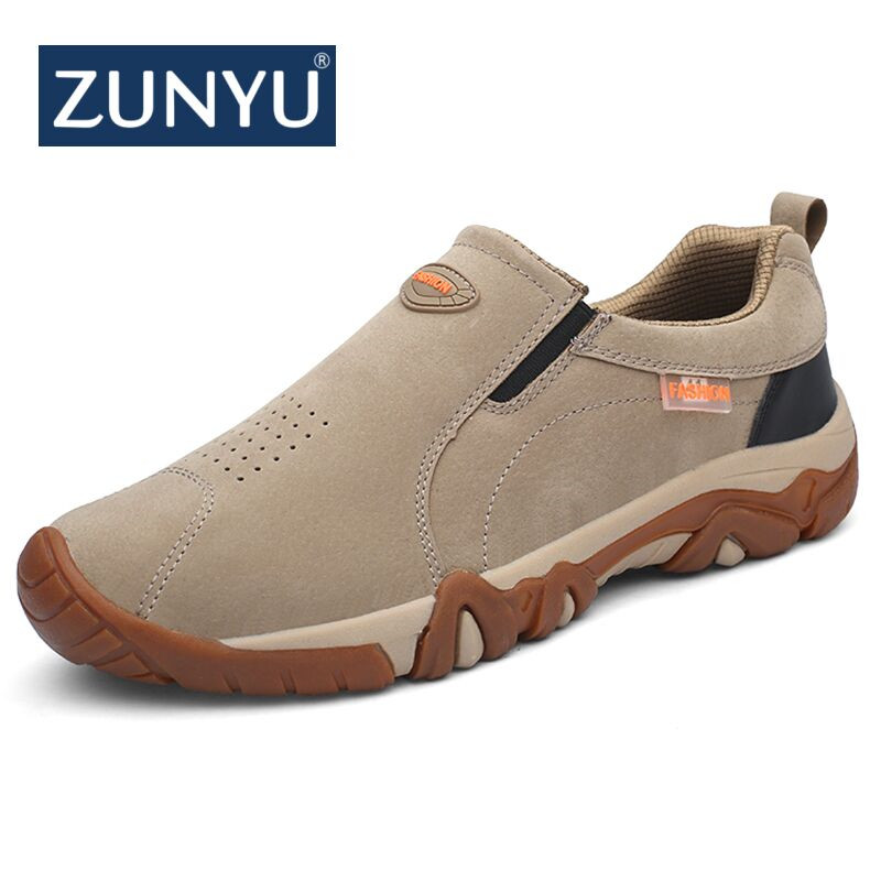 ZUNYU 2018 New Autumn Male Shoes Adult Breathable Leather Male Loafers Outside Non Slip Rubber Sole Sneakers Men Casual Shoes business men tie shallow mouth brown leather casual rivet shoes men s shoes round youth non slip rubber sole