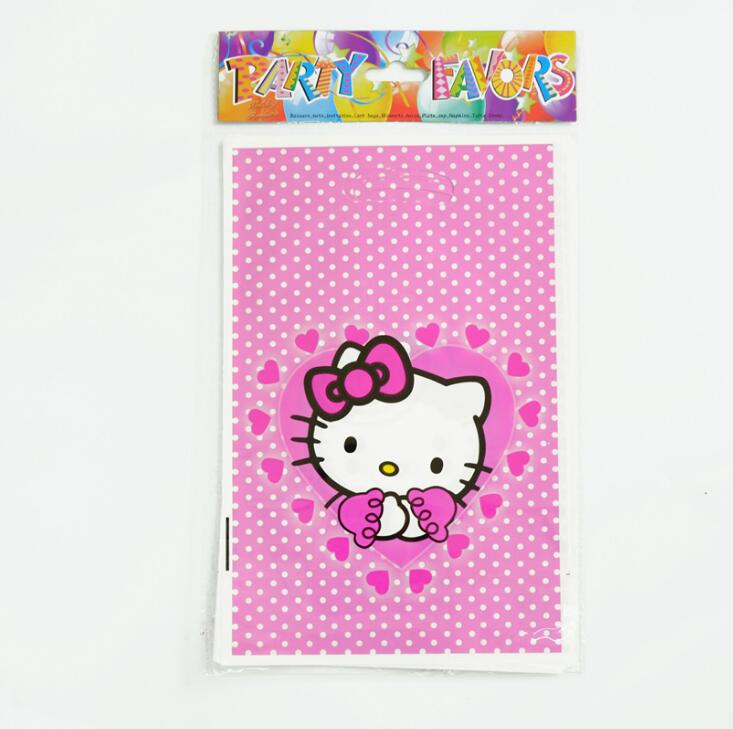 129398fe3ba6 10pcs lot hello kitty Theme Party Gift Bag Party Decoration Plastic Candy  Bag Loot Bag