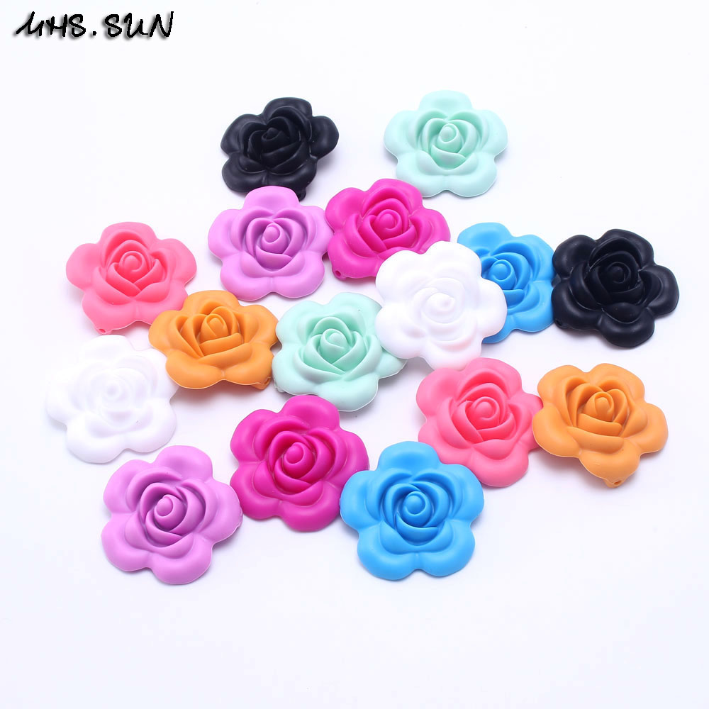 Diplomatic Mhs.sun 30pcs Silicone Beads 40.6mm Charms 3d Rose Flower Pendant Beads Diy Crafts Safty Baby Teether Toys Beads Bpa Free Sl0019 Beads