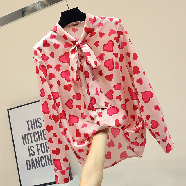 742dd7def52 MUMUZI Autumn 2019 Loose Bow Bandage Blouse Red Heart Print Chiffon Blouses  Long Sleeve Pink Shirt Casual Cute Basic Tops New
